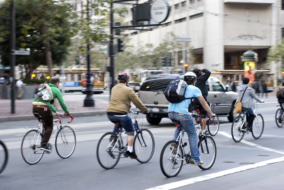 Image of people commuting by bicycle.
